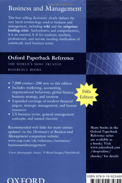A Dictionary of Business and Management - Back Cover