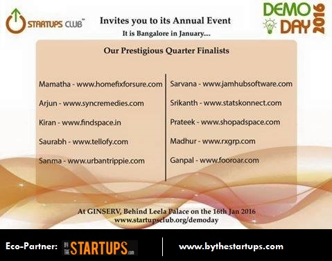 10 Quarter Finalists Startups for Startups Club Demo Day 2016, Bangalore